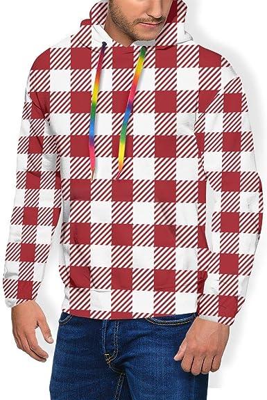 LanDu Sudadera con Capucha de Cuadros Rojos para Hombres Camisas con Capucha de Peso Pesado Cómoda Sudadera con Capucha: Amazon.es: Ropa y accesorios