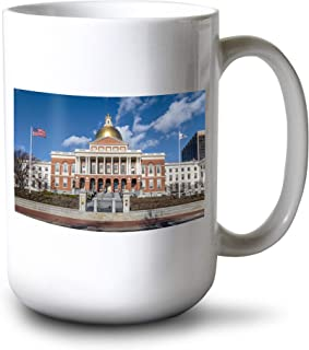 product image for Lantern Press Boston, Massachusetts - Massachusetts State House A-9000140 (15oz White Ceramic Mug)