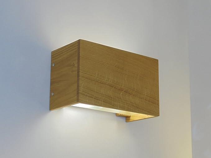 Applique lampada da parete moderna in legno rovere naturale: amazon