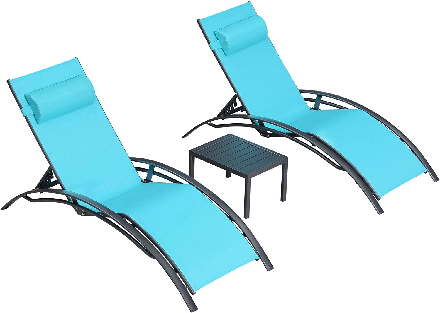 PURPLE LEAF Patio Chaise Lounge Sets 3 Pieces Outdoor Lounge Chair Sunbathing Chair with Headrest and Table for All Weather, Turquoise Blue