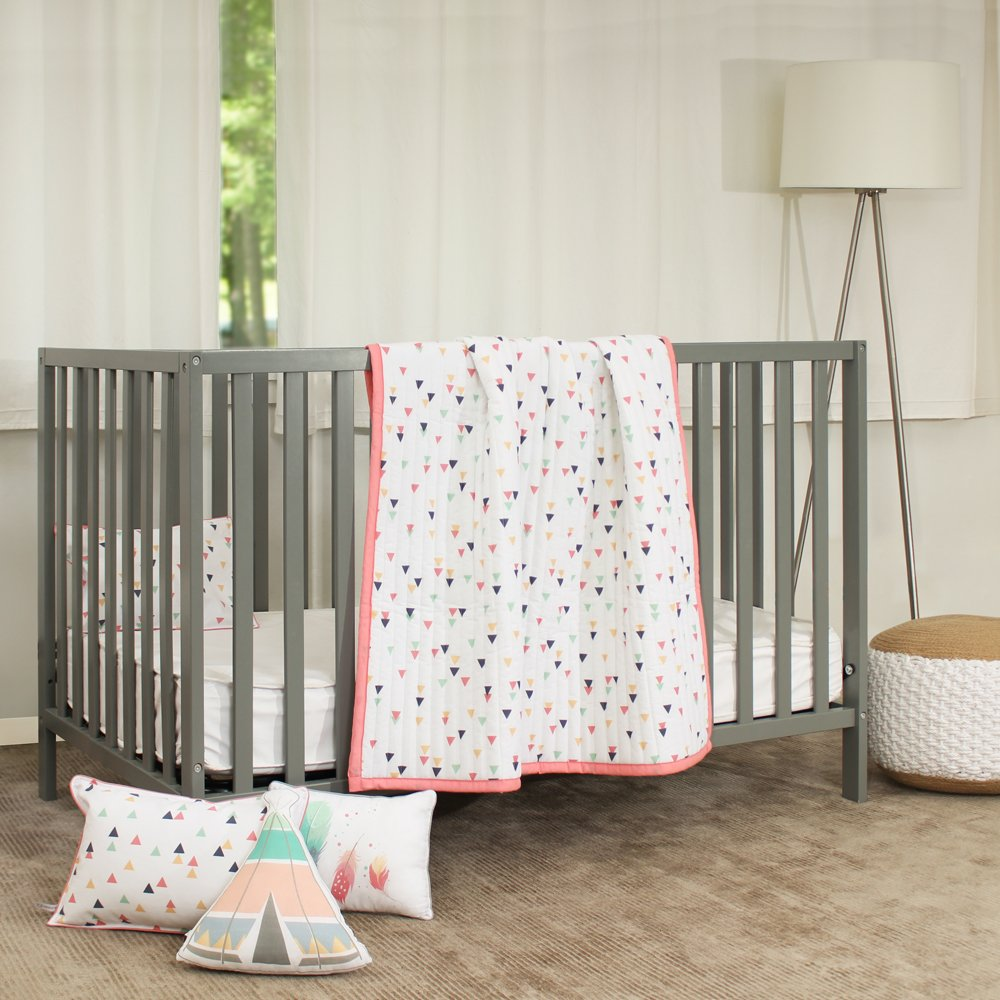 Lincove 4 Piece Toddler Crib Bedding Set - 100% Cotton Toddler Crib Bed Set - Reversible Quilt, Abstract Print Pillowcase, Tepee Shaped Pillow, Feathers-Print Cushion.