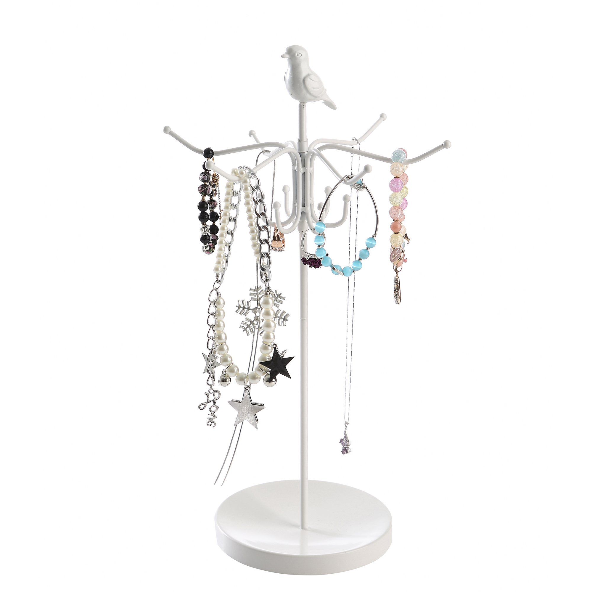Giftway White Rotating Necklace Holder, Bracelet Stand Jewelry Tree Organizer with Bird on The Top
