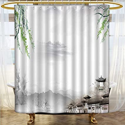 Also Easy Waterproof Mold Shower Curtain The Clear Background Of Chinese Feng Shui Ink Printed Bathroom