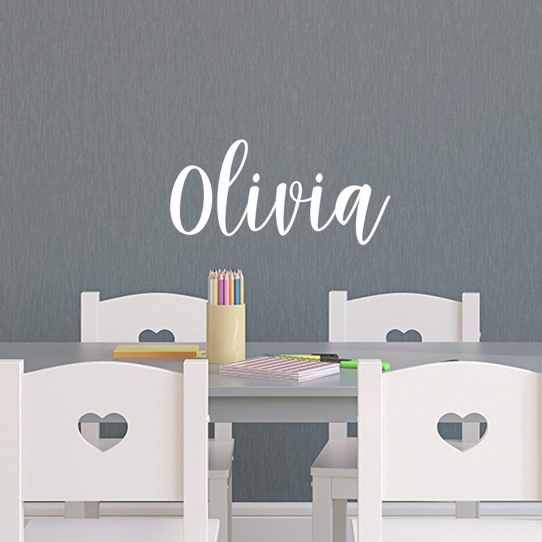 Vinyl Wall Art Decal Girls Name - 'Olivia' Text Name- 12