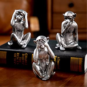 3 wise monkeys statue - hear no evil see no evil speak no evil monkeys statue for home decorations,monkeys figurines home decor,see no evil figurines animal monkey statue set of 3 antique silver color