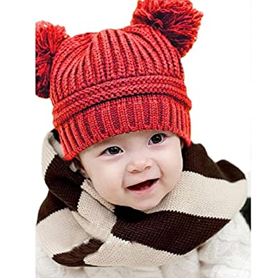Baby's Winter Hats, Mchoice Cute Baby Kids Girl Boy Dual Balls Warm Winter Knitted Cap Hat Beanie