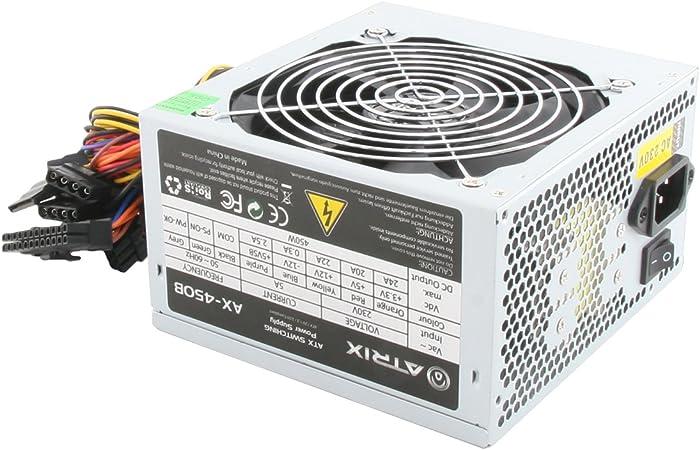 Atrix - Fuente de alimentación eléctrica (450 W, con Ventilador de ...