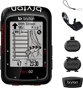 "Bryton AERO 60T GPS Bike Computer (Black, 2.3"" Display, 60T - with Heart Rate Monitor + Speed +Cadence + Metal Aero Mount).with pre-Load OSM map, Follow Track .Support Power Meter, ESS."