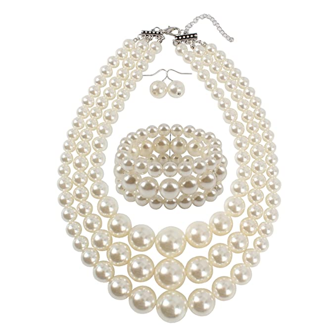 Vintage Style Jewelry, Retro Jewelry KOSMOS-LI Large Pearl Jewelry Set Pearl Statement 18 Necklace Bracelet and Earrings $14.80 AT vintagedancer.com