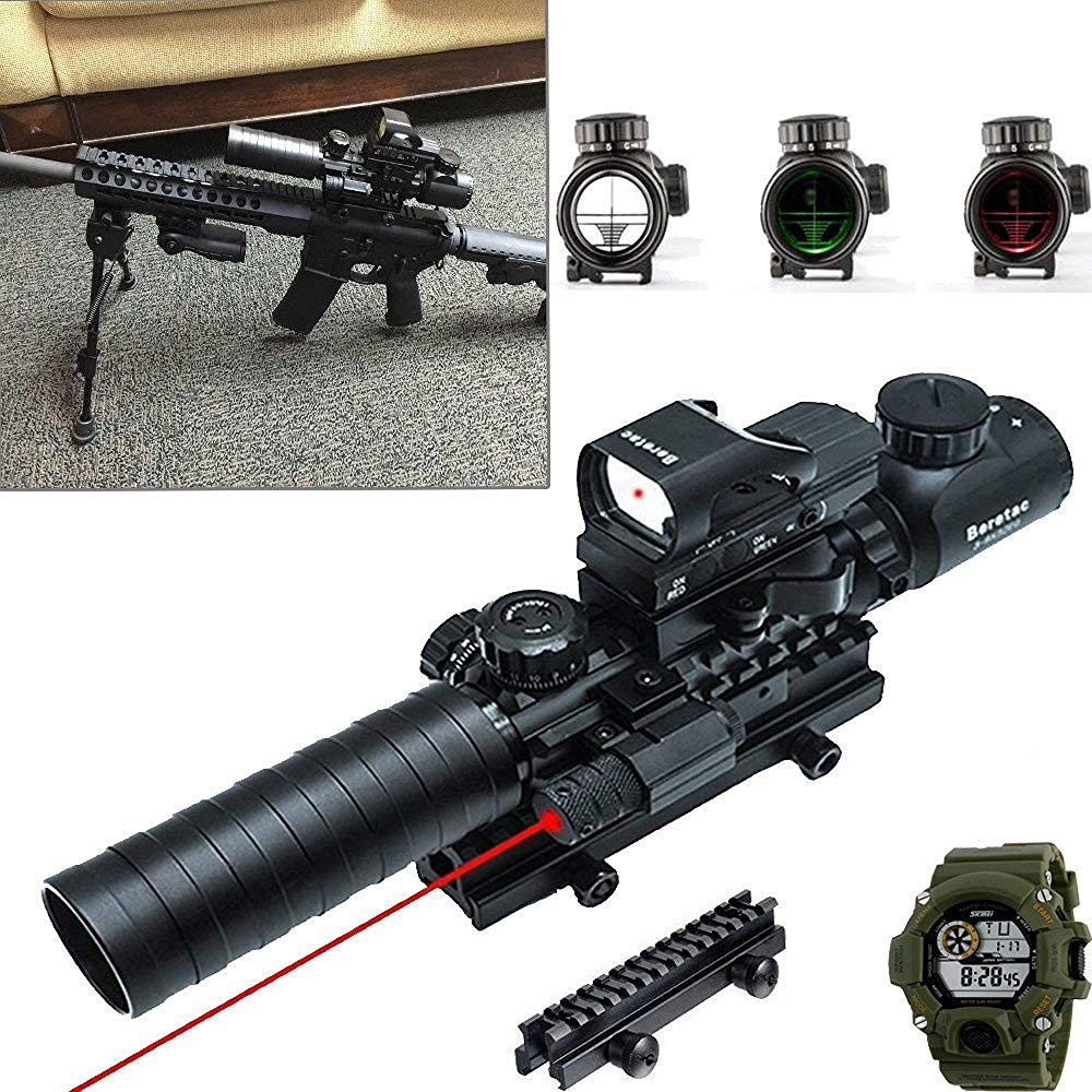 Hunting Rifle Scope 3-9x32mm with Red Dot Sight of Red Green Reticle Mount Compact High Riser