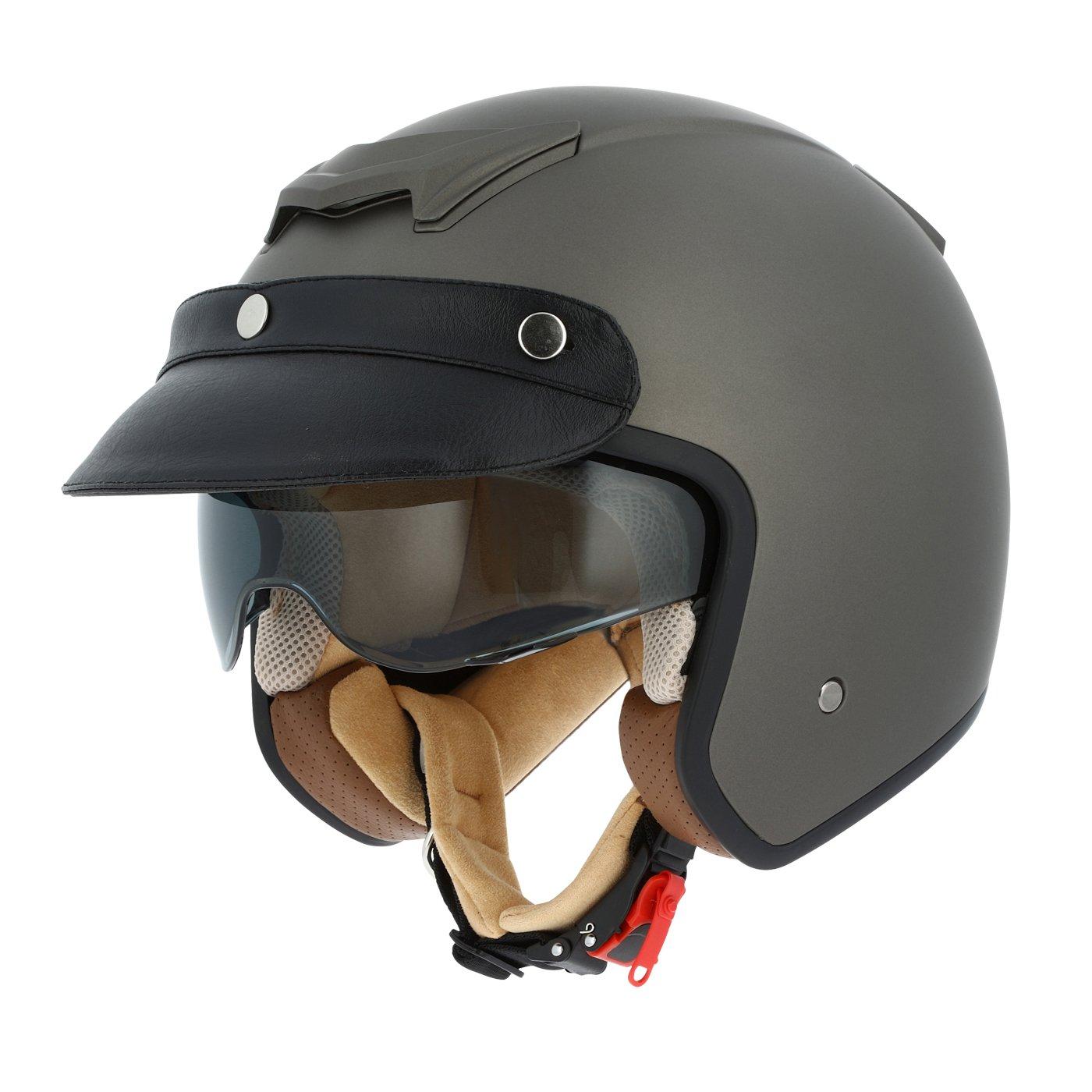 Astone Helmets Casque jet n/éo r/étro Casque jet casquette avec en cuir Casque jet Sportster 2 mono color Casque moto jet vintage Coque en polycarbonate -matt black