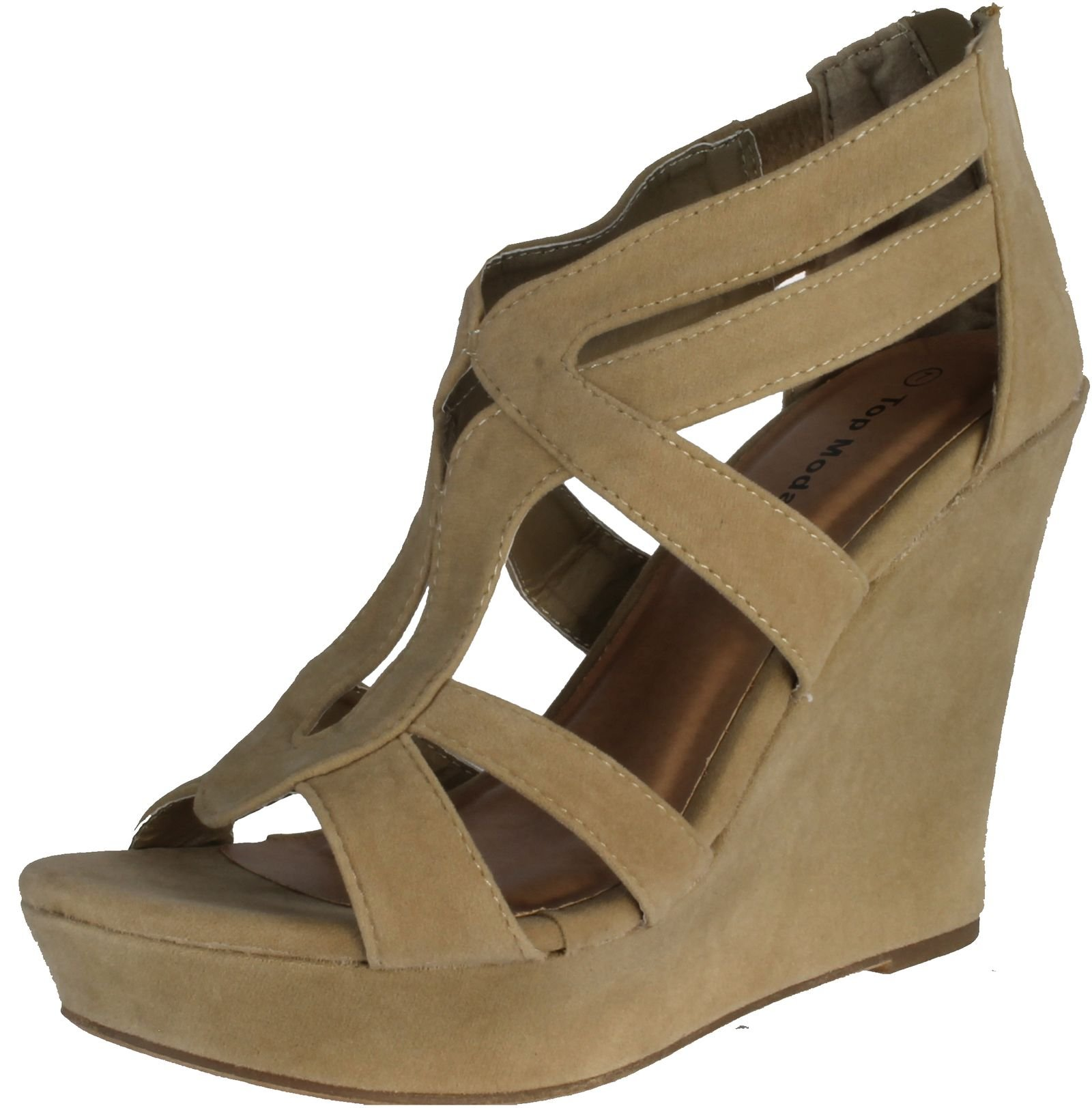 Top Moda Womens Lindy-66 Open Toe Platform Wedge Sandals,Taupe,7.5