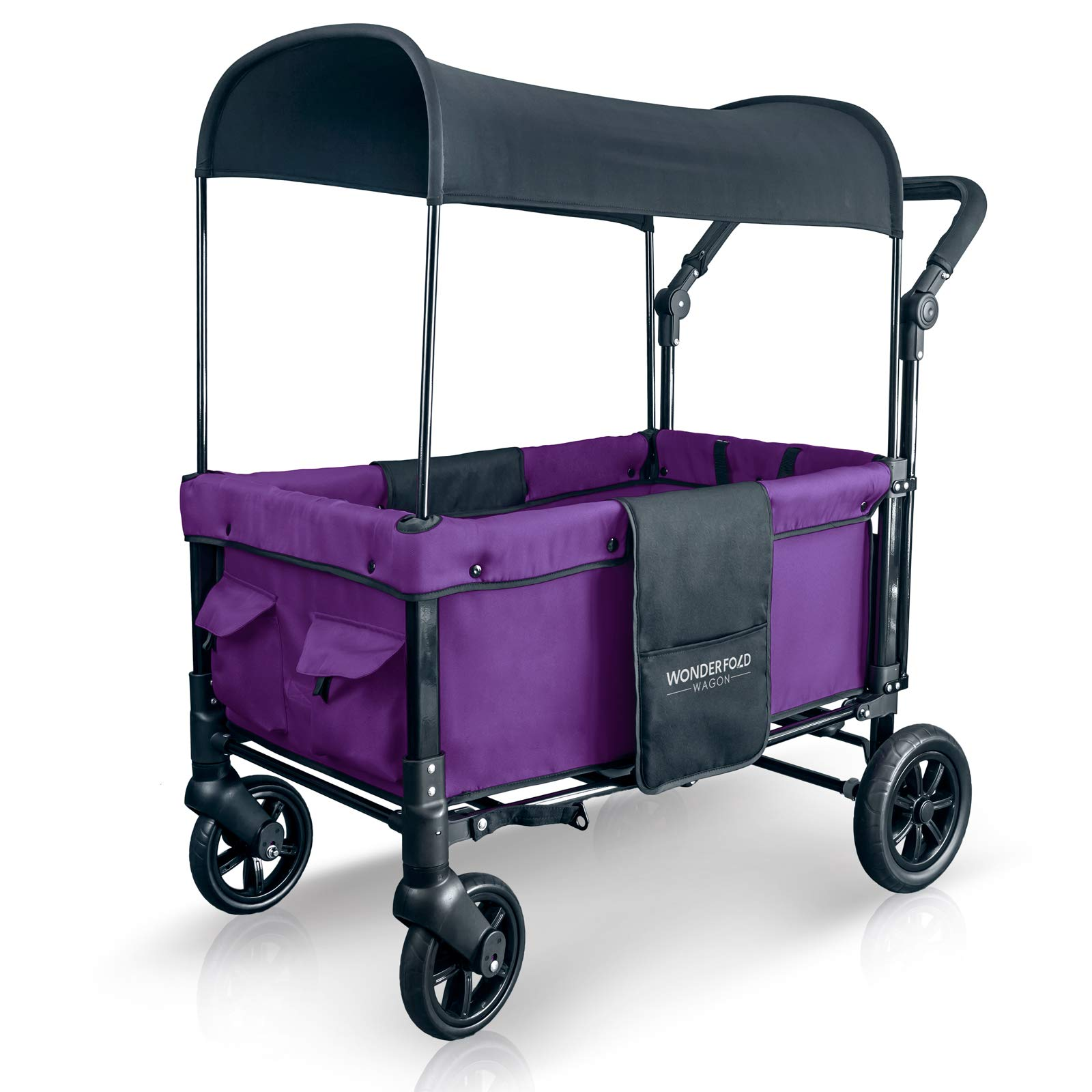 WonderFold Multi-Function 2 Passenger Push Folding Stroller Wagon, Adjustable & Removable Canopy, Double Seats with 5-Point Harness (Cobalt Violet) by WonderFold