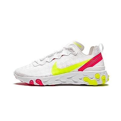 Nike Mens React Element 55 Casual Shoes (11.5, White/Volt/Flash Crimson/Hyper Crimson) | Fashion Sneakers
