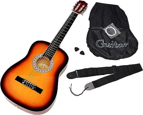 ts-ideen - Guitarra acústica clásica (incluye funda, correa, cuerdas y púa), color sunburst: Amazon.es: Instrumentos musicales