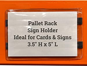 "Pallet Rack Sign Holder Kit Clear Vinyl Pouch with Magnet for 3.5"" H x 5"" L Cards - 50 Pack"