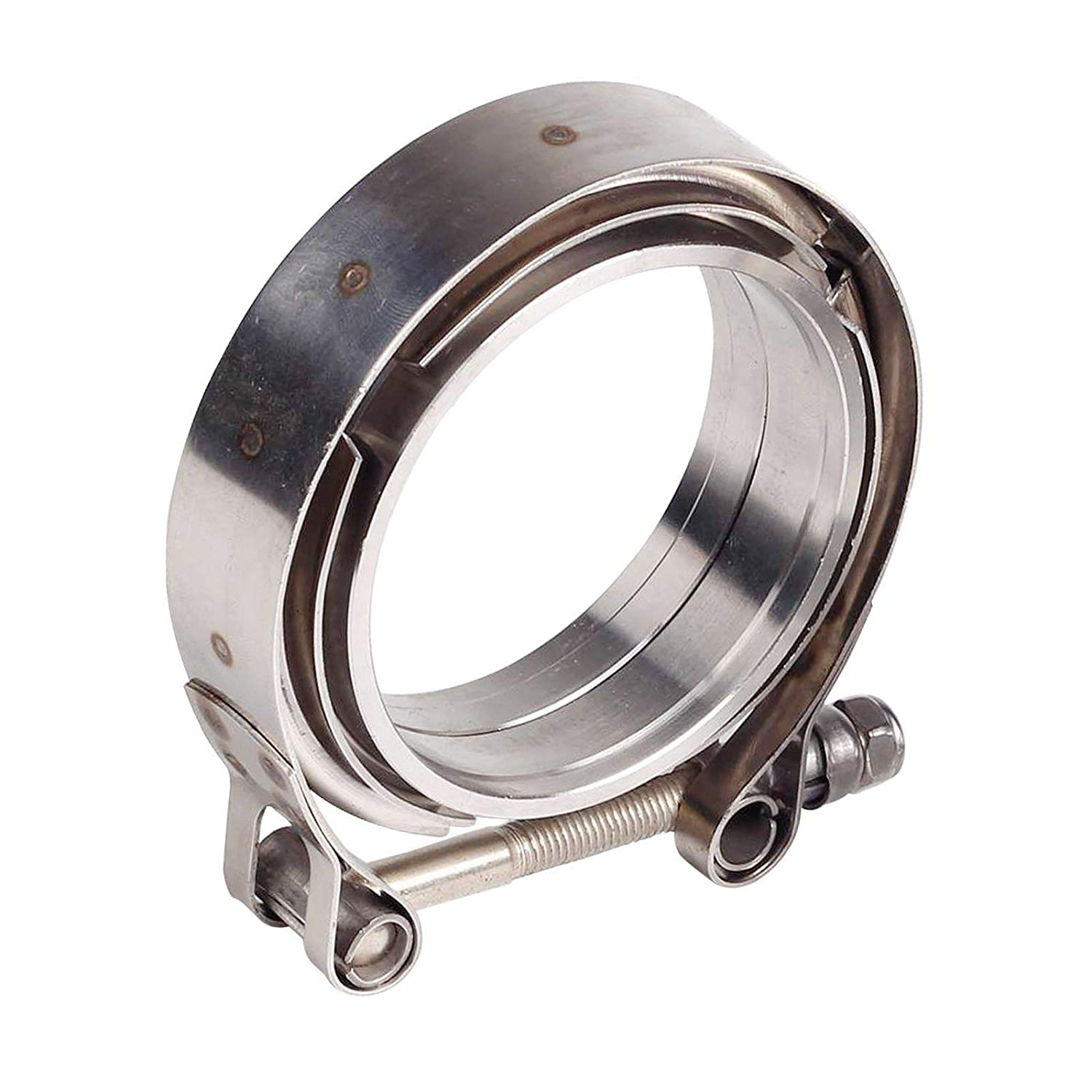 Downpipes,Exhaust Systems 2.5in 63mm SS Vband V-Band Flange Kit 2.5 Inch V Band Clamp with Stainless Steel Flanges for Turbo