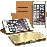 EAZY CASE Book-Style Schutzhülle für Apple iPhone 4 / 4S - Wallet Case Flip Cover Tasche Handyhülle Etui mit Standfunktion Metallic Gold