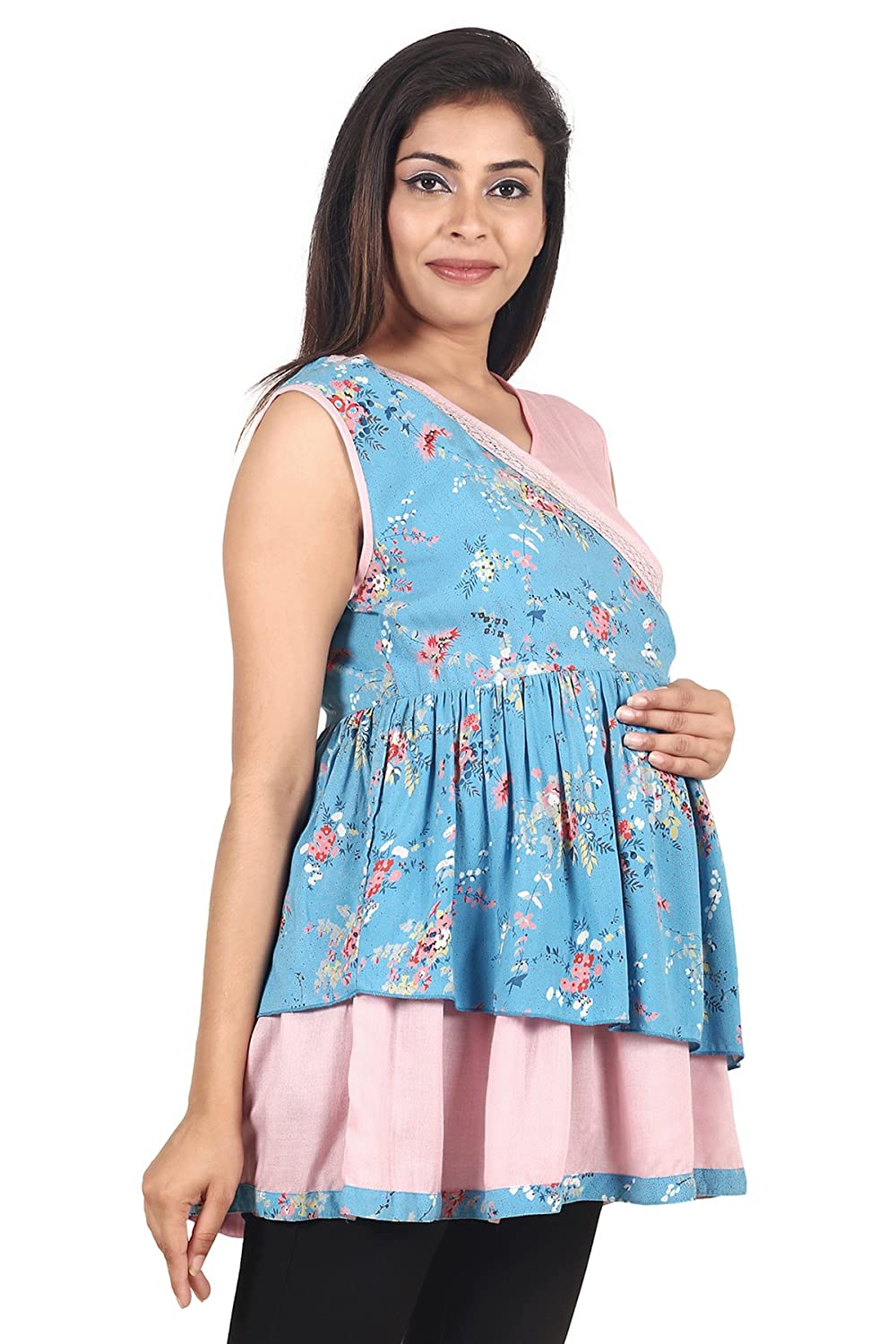 860812ed8abca 9teenAGAIN Women's Moss Crepe Maternity Top(Blue & Pink): Amazon.in:  Clothing & Accessories