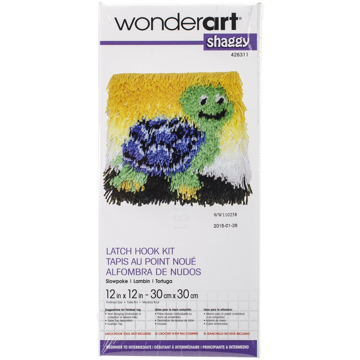 WonderArt 426311C Shaggy Latch Hook Kit 12 X 12 Slowpoke
