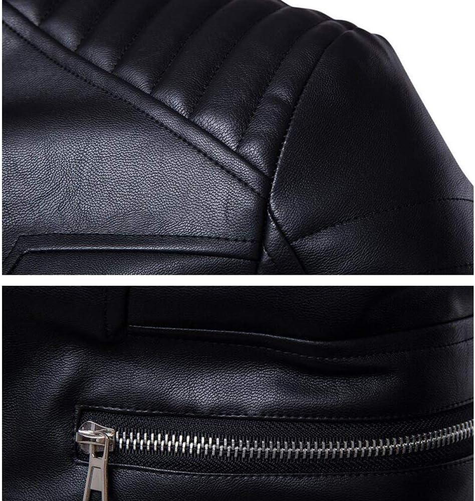 M-5XL QOCE Veste de Moto en Cuir Textile Blouson PU Artificiel Col Debout Manchette Ajustable pour Les Hommes
