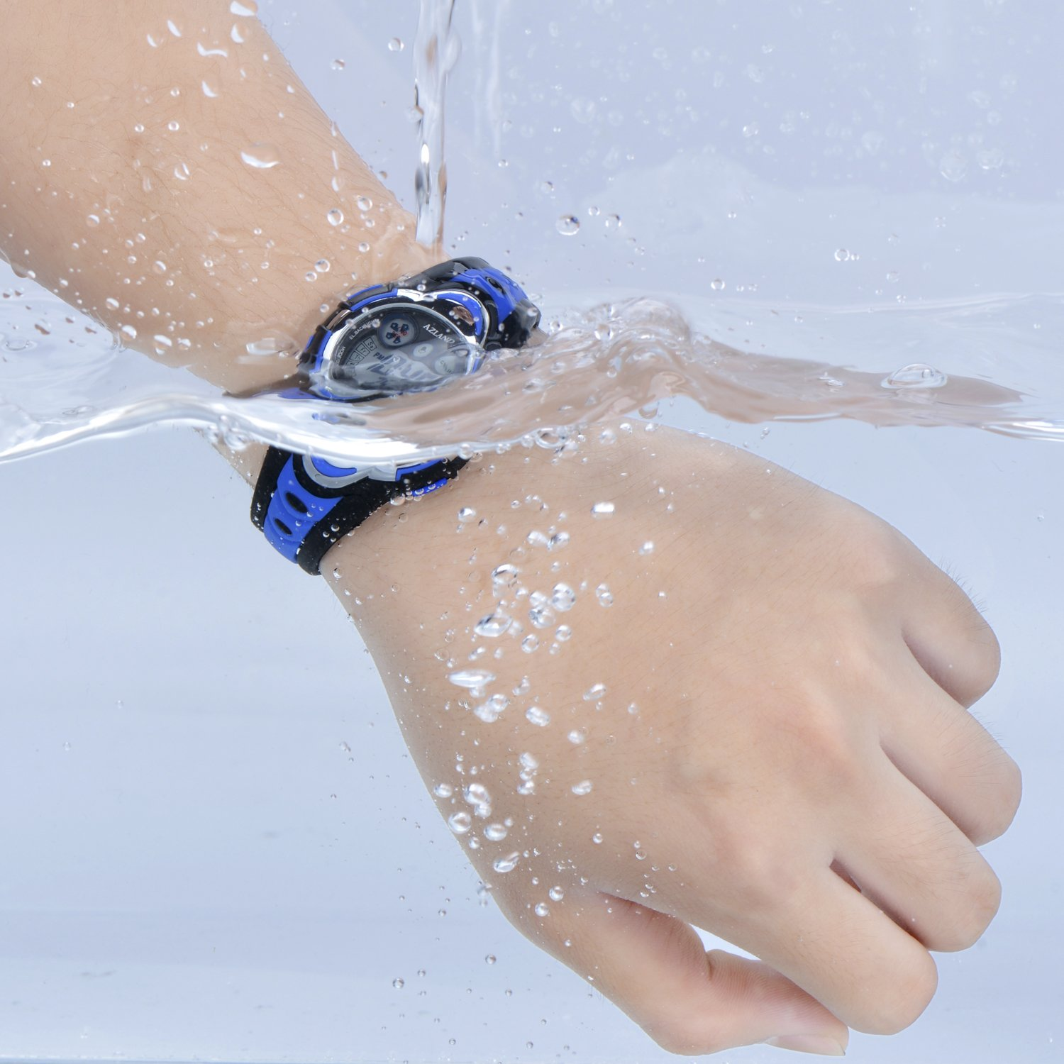 AZLAND Waterproof Swimming Led Digital Sports Watches for Children Kids Girls Boys,Rubber Strap,Blue by AZLAND (Image #3)