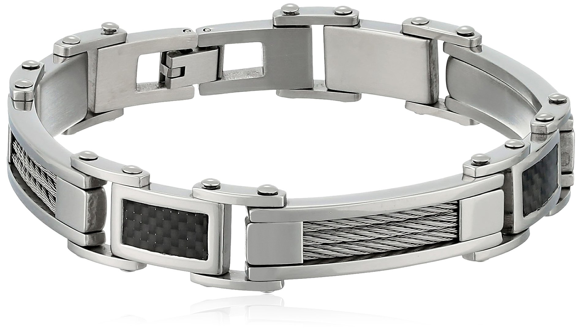 Cold Steel Stainless Steel Cable and Carbon Fiber Men's Bracelet