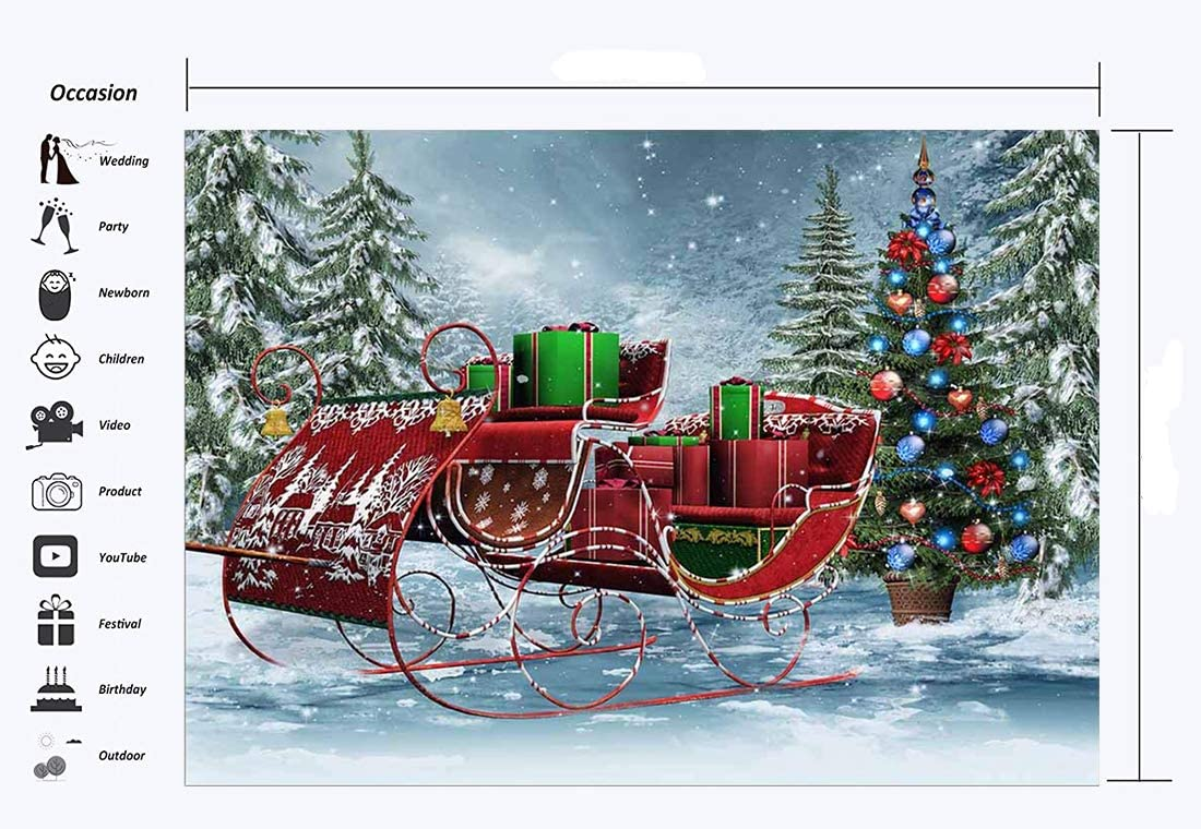 RBabyPhoto Merry Christmas Backdrop 7X5FT Santa Claus Ride Snowing Landscape Pine Trees Winter Wonderland Gifts Xmas Photography Background for Family Happy New Year Photo Studio Props Vinyl CK527