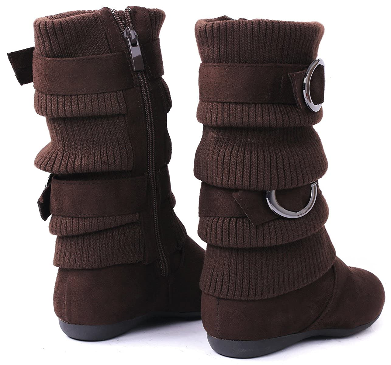 Lucky Top B21 Kids Warm Slouch Sweater-Cuff Dual Buckle Zipper Mid-Calf Boots