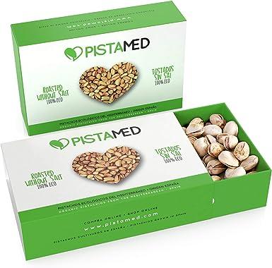 Pistachos ecológicos PISTAMED - 200 gramos. Tostado artesanal SIN SAL - Origen España (2 cajas de 100 gr.): Amazon.es: Alimentación y bebidas