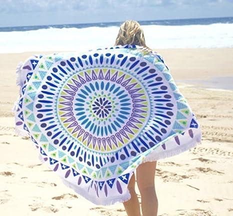Ronda Toalla de playa con macramé - Fibra extrafina de alta calidad, toalla de playa