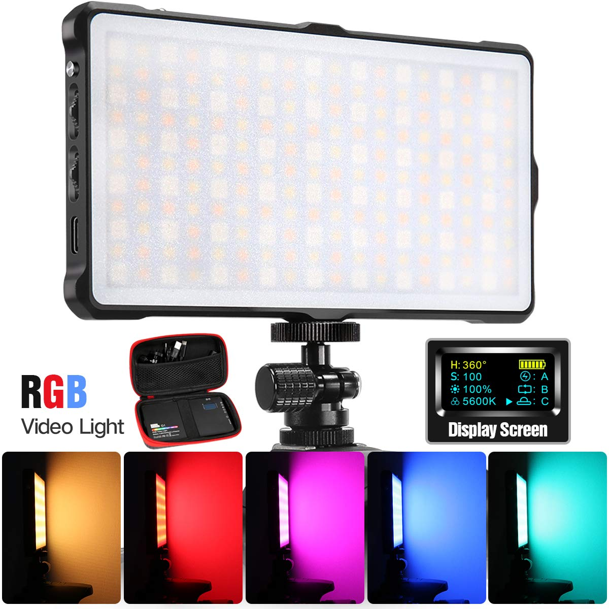Pixel RGB LED Video Light,Full Color Rechargeable Pocket Sized On-Camera Video Light with Bi-Color 3200k-5600k and 9 Applicable Situations, 360° Adjustable Support System by PIXEL
