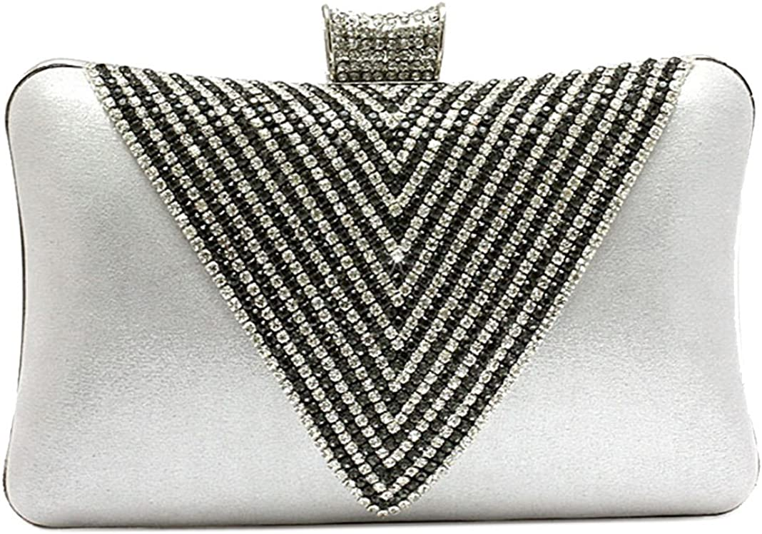 Fashion V Shape Rhinestone Inlaid Evening Bag Glossy Female
