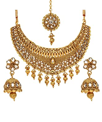 Jewelry Sets Designer Bollywood Style Gold Plated Kundan Women Necklace Jewelry Sets