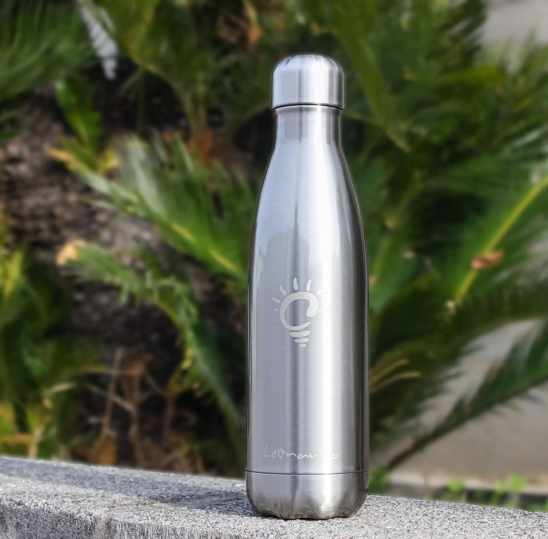 certificata CE e FDA per Alimenti Palestra Scuola Sport Borraccia Sportiva per Bambino Bottiglia per Acqua in Metallo Senza Bpa Leonardo 123S Bottiglia Termica in Acciaio Inox 500ml