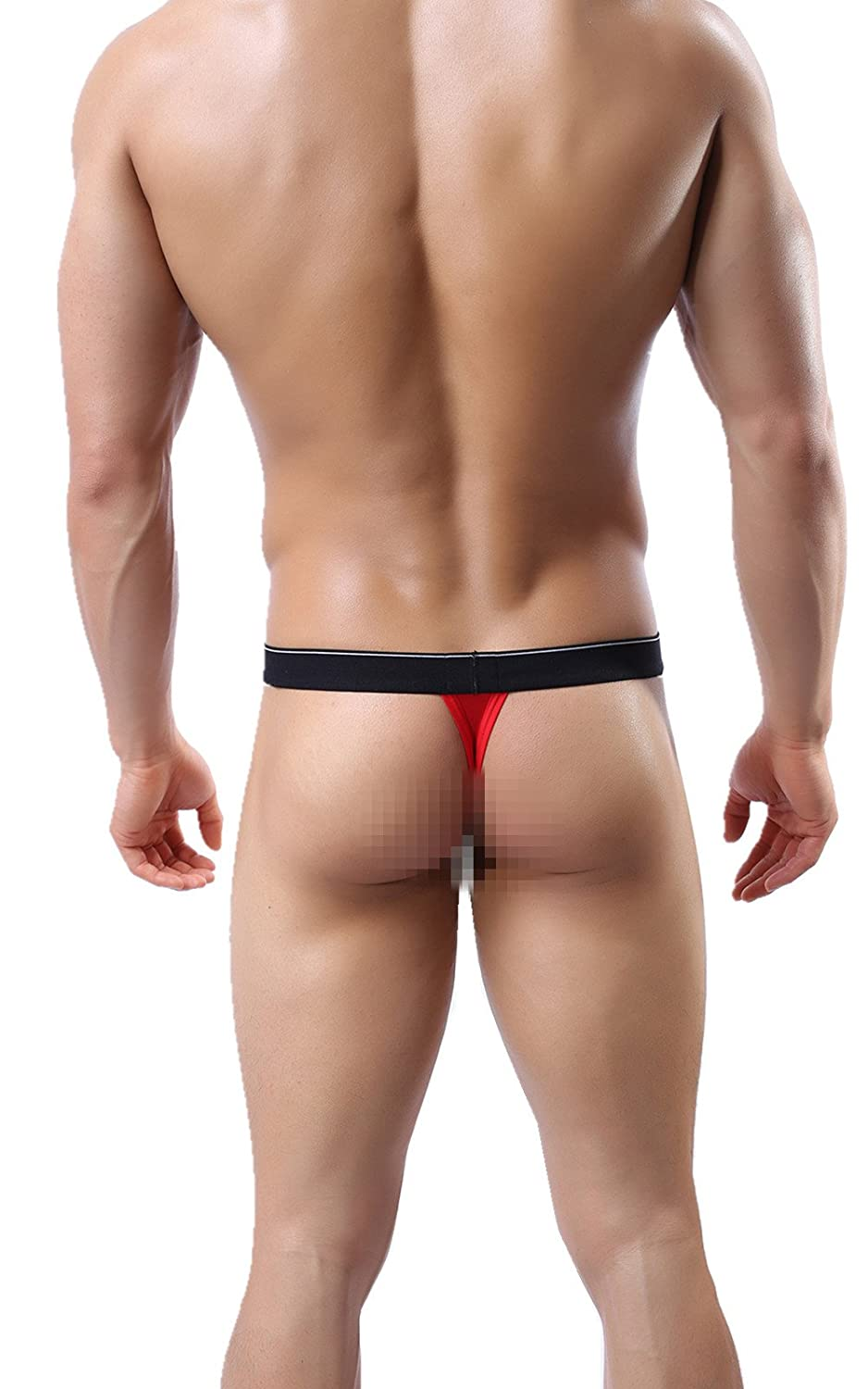 MIBOER58 Men's Underwear Transparent Thong G-String T-Back Bikini Briefs Swimsuit Red) SYJIMEIJI