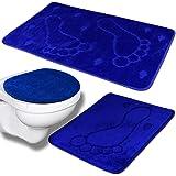 Badvorleger   Duschmatte   Badezimmer Set 3tlg Mono Fuß   Farbauswahl (blau)
