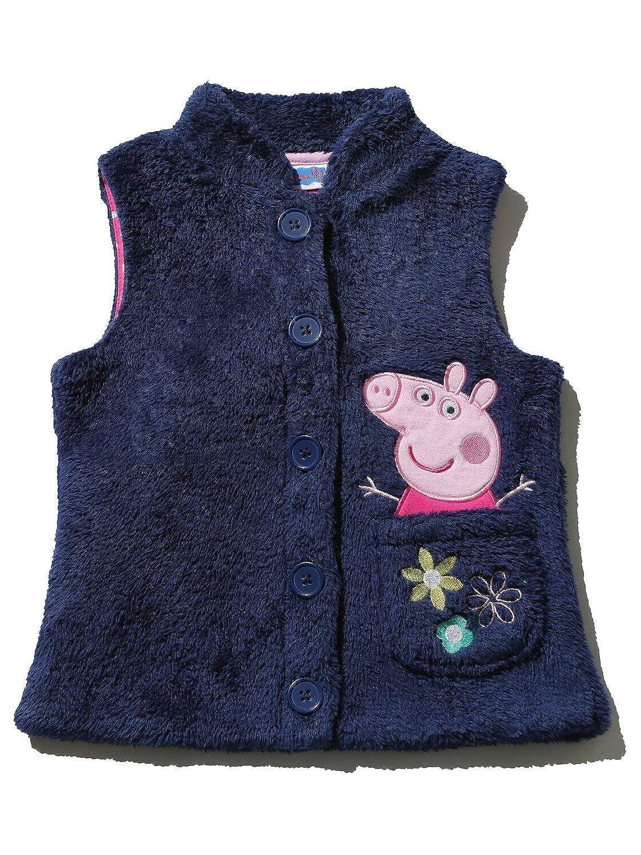 Peppa Pig Girls Navy Sleeveless Button Front Character Pocket Applique Fleece Gilet M&Co