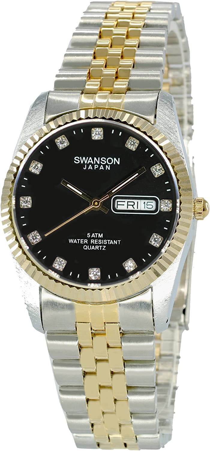 Swanson Men s Two-Tone Day-Date Watch Black Dial with Stones