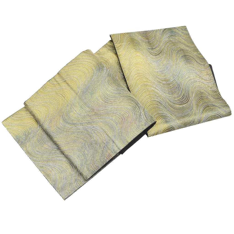 (着物ひととき) 袋帯 リサイクル 中古 正絹 結婚式 振袖 ふくろおび 西陣 引き箔 波文様 金系 ll1862a10 B07FVLXBDB  -