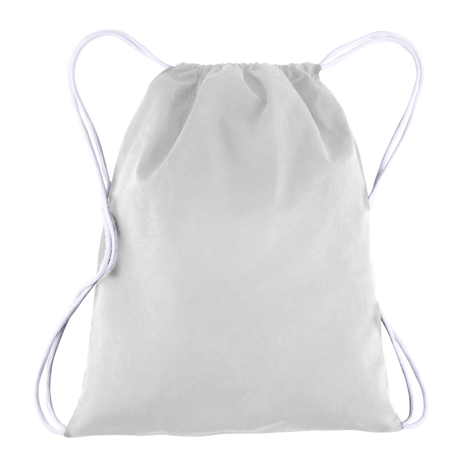 BagzDepot 100% COTTON Budget Friendly Sport Drawstring Bag Cinch Packs (White)