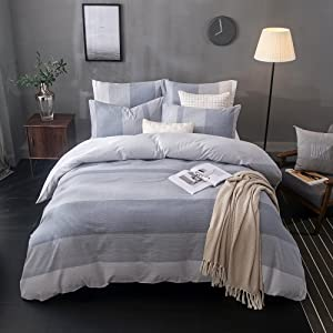 Merryfeel Cotton Duvet Cover Set,100% Cotton Yarn Dyed Striped Duvet Cover Set - Full/Queen Grey