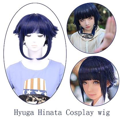 Queentas Naruto Hinata Hyuga - Peluca de Halloween para niña, color morado y azul