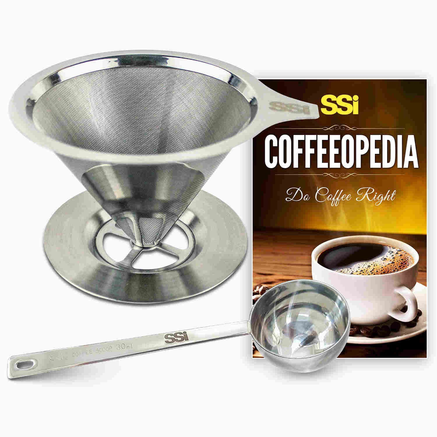 Pour Over Coffee Filter Dripper Kit with Bonus 2 Tablespoon Scoop - All High Quality Stainless Steel Cone Paperless and Reusable Hand Brewer Bundle - Coffover Coffee Drip