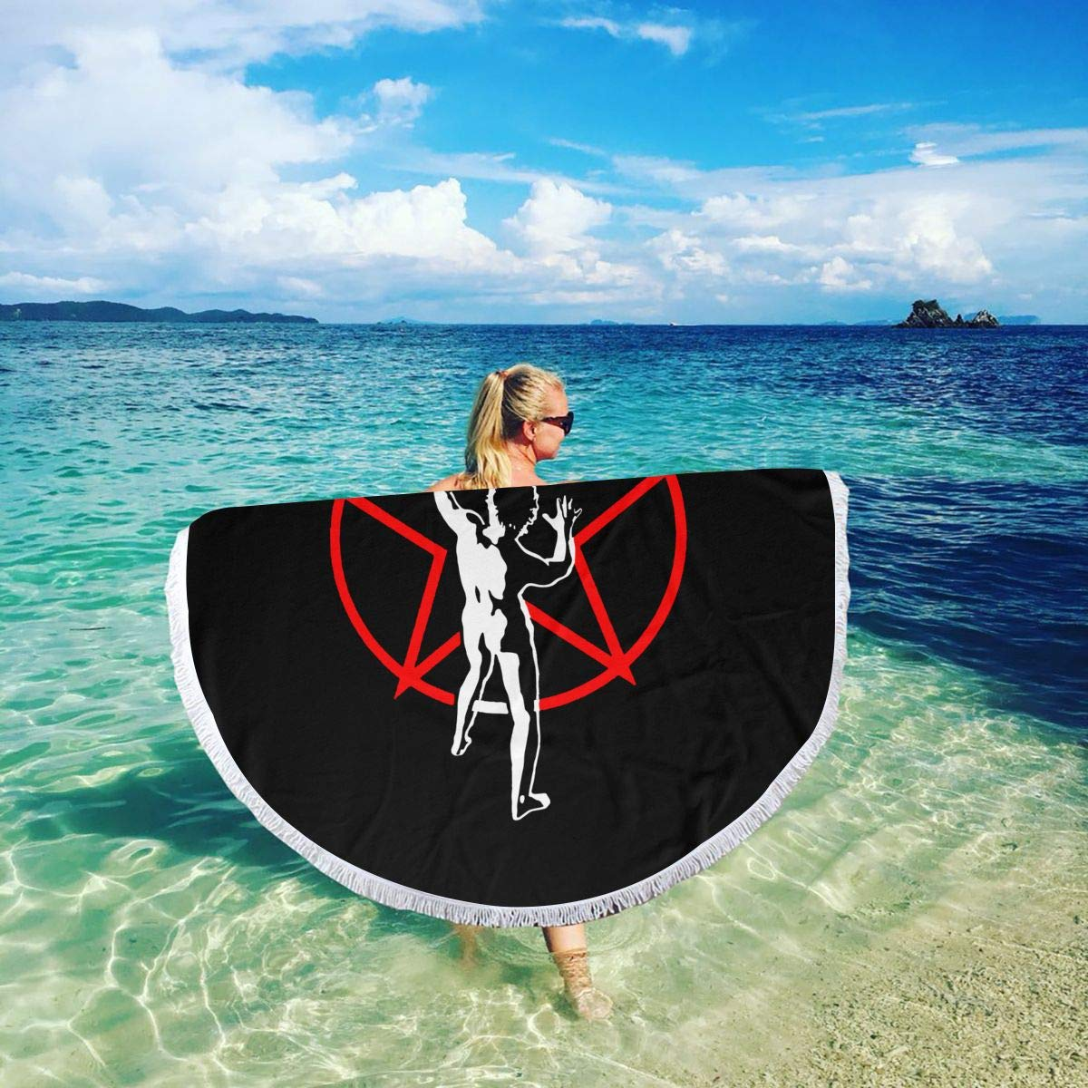 VIMMUCIR Beach Towel Rush Starman 2 Towels with Tassel Microfiber Oversized Round Picnic Mat Tapestry Table Cover Blanket