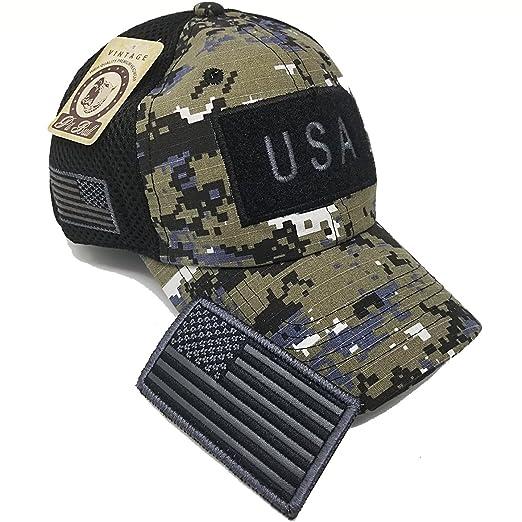 263ebac7e15 MrKap USA American Flag Patch Baseball Cap Men Women Mesh Hat  (BlackDigiCamo)