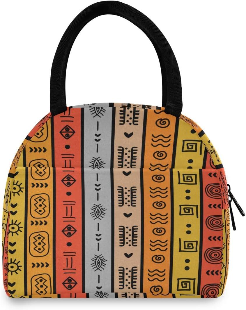 F17 - Bolsa de almuerzo con jeroglíficos étnicos de Egipto, bolsa de almuerzo con aislamiento reutilizable para senderismo, picnic, viajes, playa, trabajo, escuela, oficina, niños y adultos
