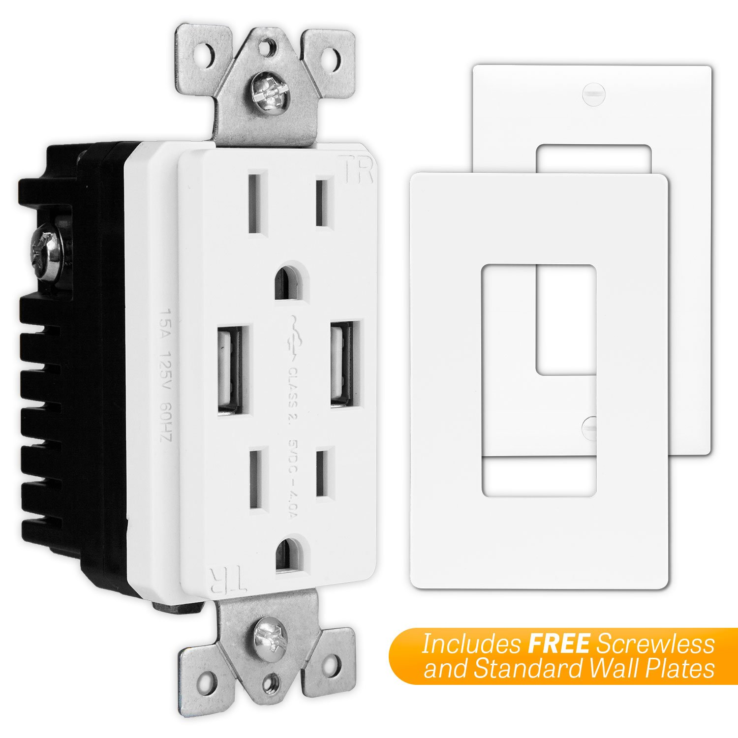 TOPGREENER TU2154A High Speed USB Charger Outlet, USB Wall Charger, Electrical Outlet with USB, 15A TR Receptacle, Screwless Wall Plate, for iPhone X, iPhone 8/8 Plus, Samsung Galaxy and more, White