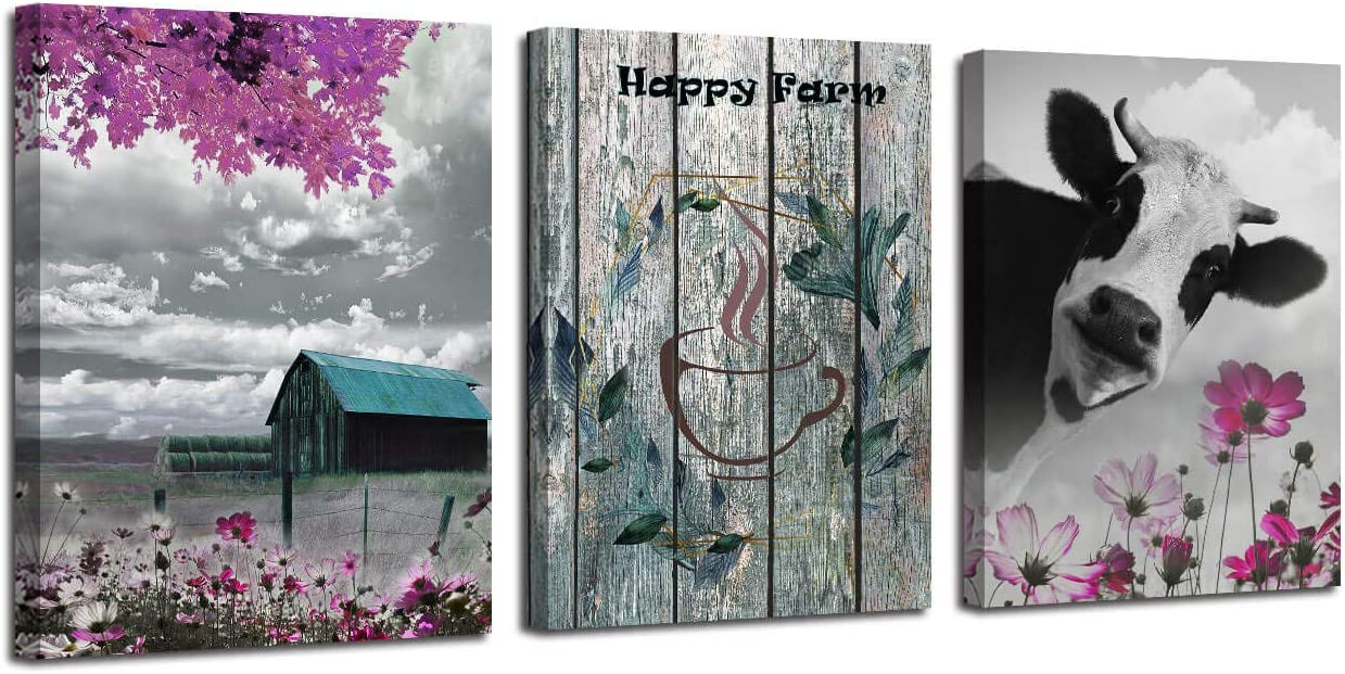 """Canvas Wall Art Teal Cottage Rustic Funny Cow Landscape Happy Farm Scenes Painting Prints, 12""""x16"""" x3 Panels Purple Artwork Framed for Bedroom Living Room Coffee Room Dinning Room Kitchen Wall Decor"""