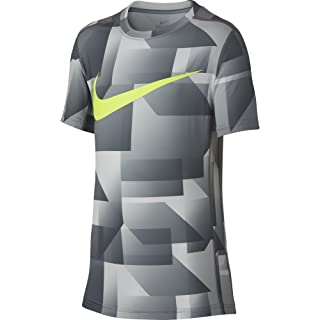 NIKE Boys' Short Sleeve All Over Print Training Top, Cool Grey, Large